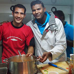 Captain Maher works with Cook Walid - photo: Yvonne & Serge Zinder