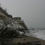 Schneegestöber an der Steilküste...