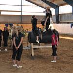 Unser S/Junior-Team turnte ein Kür-Medley auf unserem neuen Voltigierbock