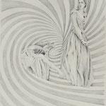 Zeichnung nach Baudry, Charlotte Corday, Bleistift a. Papier, 59 x 42 cm