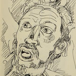 Skizze Holofernes, Bleistift auf Papier, 18 x 12 cm