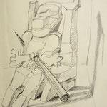 Skizze Debufet, Bleistift auf Papier, 17 x 11 cm