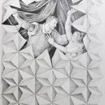 Zeichnung nach Tizian, Tarquinius  Lukretia, Bleistift a. Papier, 59 x 42 cm