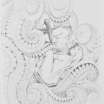 Zeichnung nach Beckmann, Geschwister, Bleistift a. Papier, 59 x 42 cm
