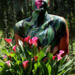Malerei - Blütenstrauch: Marga Golz; Foto: Günter Ruf