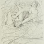 Zeichnung nach Gentileschi, Judith u. Holofernes, Bleistift a. Papier, 59 x 42 cm