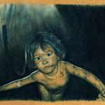1389  P 2010  Mädchen von Smokey Mountain, The charcoal girl Dida, Carbon und Farbstift, N., G. und A., 14. bis 18.5.2014