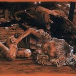 1370  P 1863  Thomas Tham, so schlafen meine Kinder am Valentinstag, JASON and his bed, 30 x 21 cm,  Carbon und Farbstift, Neusäß und Gersthofen, 12. und 13.3.2014