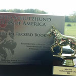 Bea Von Der Blockhütte's scorebook and BH trophy on 4-26-2014