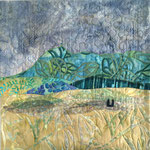 """Pluie de printemps. Coussin """"Chaîne des Puys"""" de l'atelier """"Le Quilt émoi""""."""