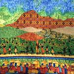 """Afrique 1. Coussin """"Chaîne des Puys"""" de l'atelier """"Le Quilt émoi""""."""