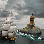 Fregatte L'Hermione am Leuchtturm La Vielle (Brest)