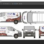 Entwurf für eine Fahrzeugbeschriftung: Kombination aus Digitaldruck und Folienplott