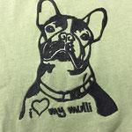 Stick auf T-Shirt (12 x 16 cm mit 17.650 Stichen: 15,- für Erstellung Stickdatei; Stick: 1,50 x 18 x 1,20 = 23,10€ brutto)