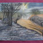 Nr 12, Winterlandschaft, Kreide, 24 * 32 cm