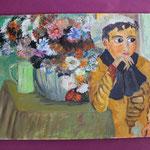 Nr 3, Frau mit Blumen, Öl, Leinwand, 26.5 * 36 cm