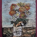 Nr 15, Blumenstrauss, Absprengtechnik, 30 * 34.5 cm