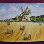 Nr 41, Windmühlenlandschaft, Aquarell, 30 * 40 cm