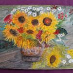 Nr 45, Sonnenblumenstrauss, Aquarell, 30 * 40 cm