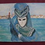 Nr 16, Venezianische Maske, Aquarell, 30 * 40 cm