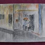 Nr 55, Im Regen, Aquarell, 24 * 32 cm