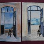 Nr 56 und 57, Katze auf dem Balkon, Kreide oder Aquarell, 24 * 32 cm