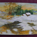 Nr 33, Winterlandschaft, Aquarell, 30 * 40 cm