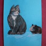Nr 7, Katze und Hamster, Kreide, 23 * 33 cm