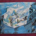 Nr 25, kubistische Berge, Öl, 30 * 40 cm