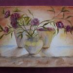 Nr 58, Blumenvase, Aquarell, Keilrahmen, 30 * 40 cm