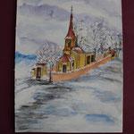 Nr 9, Kirche, Aquarell, 24 * 32 cm