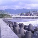 海岸沿いの散歩道で、向こうに見えるのは真鶴道路です。