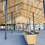設計は、あの隅研吾氏! 東京五輪の新国立競技場の設計者です。屋根に木材が使われ、手前は手湯です。