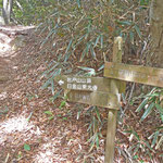 岩戸山山頂の道標。 道標が見つかり、元気が出たのですが...