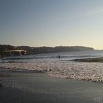 サーフィンにぴったりの波が来るそうで、サーファーは1年中います。向こうに見えるのが真鶴半島です。