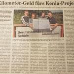 """Quelle: Rhein-Zeitung Nr. 152 Westerwald-Sieg vom 04.07.2007 """"Kilometer-Geld fürs Kenia-Projekt"""""""