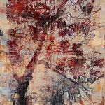 Pinie , 2014, Öl/Holzschnitt auf Leinwand, 160 x 100 cm