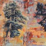 Drei Bäume I, 2009, Öl auf Leinwand, 100 x 180 cm