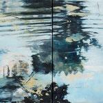 Spiegelung, 2009, Öl auf Leinwand, 50 x 120 cm