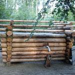 Mise en place des pannes de la charpente au bout de 16 jours de travail (PHOTO 2011 (c) John C)
