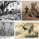 Planche de photographies et gravures autour de la culture de l'éclaireur chez les Cosaques. Les Cosaques du Kouban et de Sibérie étaient en particulier, des pisteurs reconnus !