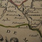 Pié Bouquet (»Piebouquet«) auf einer Karte von NOLIN, 1698 (Privatbesitz, genehmigte Bildveröffentlichung) / © Sammlung PRISARD