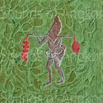 Porteur d'un arbre à cloches et d'un sac (?) faisant contrepoids. Angkor Vat.