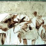Der Schlaf 1 | 46x62 cm | Rötel & Sepiatusche auf Papier | 2004