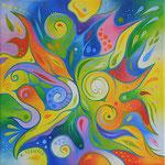 598 Farbenwirbel 1, Öl auf Leinwand, 2021, 30 x 30 cm, verkauft
