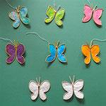 Schmetterlinge aus Papierdraht und leicht transparentem Papier, 4 €/Stück