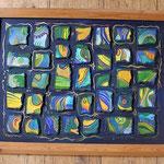 091  Blaugoldenes Mosaik II  |  Öl auf Hartfaserplatte, 2003, 60 x 45 cm, verkauft