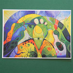 """Postkarte 5 """"Die Botschaft (Rose und Weißdorn)"""", 1,50 €"""
