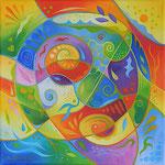 599 Farbenwirbel 2, Öl auf Leinwand, 2021, 30 x 30 cm, 110 € zzgl. Versand