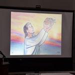 紙芝居のワンシーンです。イエスさまが少年から差し出されたパンを祝福される場面です。